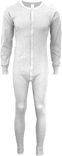 Indera - Mens Big Long Sleeve Union Suit, 860 19258 (White / Medium Tall)