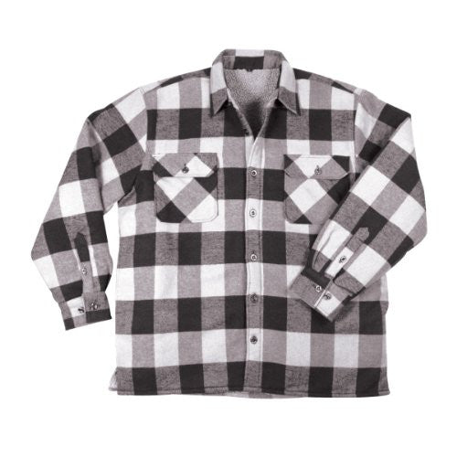 White Extra Heavyweight Sherpa-lined Flannel Shirts - Medium