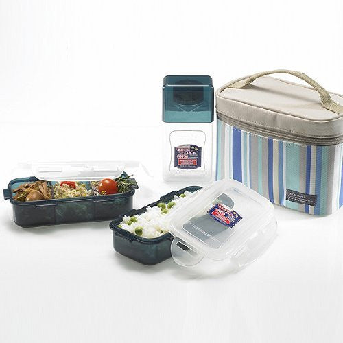 Lock & Lock Rectangular Blue Lunch Box Set with BPA Free Food Containers with Leak Proof Locking Lids, 1.4-Cup