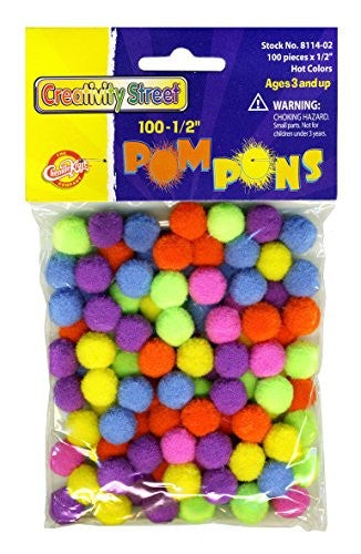 "Pom Pons - Hot Colors - 1/2"" x 100 Pcs"