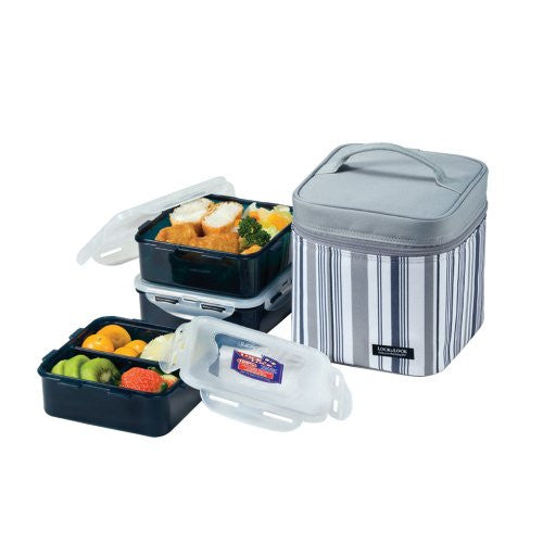 Lock & Lock Square Lunch Box 3-Piece Set with Insulated Stripe Bag, Gray
