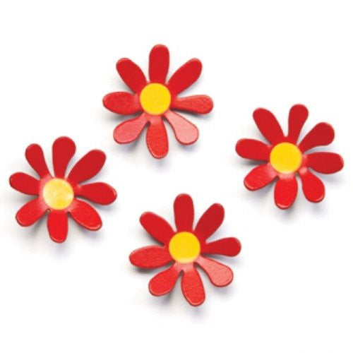 Embellish Your Story Red Daisy Magnets - Set of 4