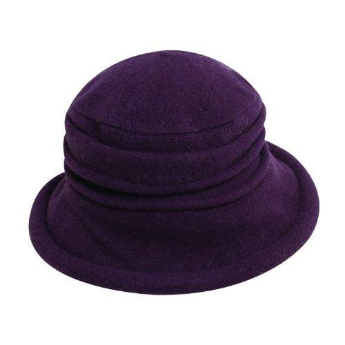 Scala Collezione Women's Boiled 100% Wool Cloche Hat (Plum / One Size)