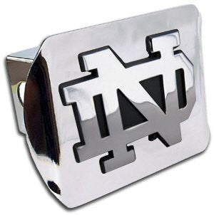"Notre Dame (""ND"") Shiny Chrome Hitch Cover"