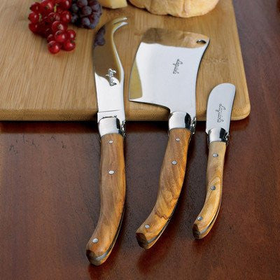 Jean Dubost Rustic Range Olive Wood 3 Pc Cheese Set