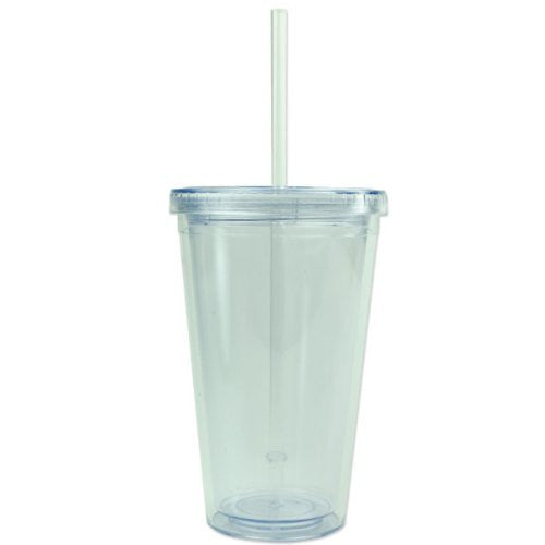 BPA-Free 16 Ounces Acrylic Tumbler with Straw, Double Wall, Clear