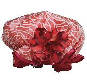 Shower Cap - Red with Red Flower Design