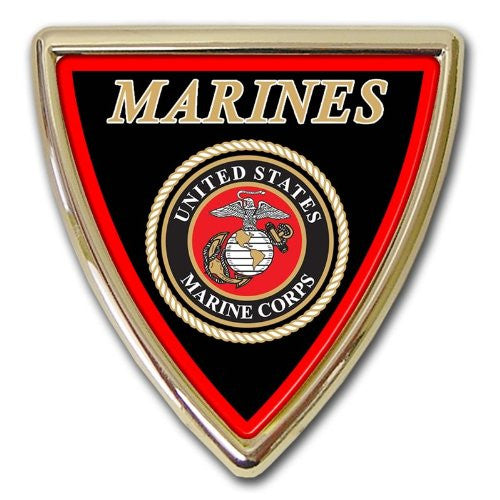 Marine Chrome Auto Emblem (Shield)