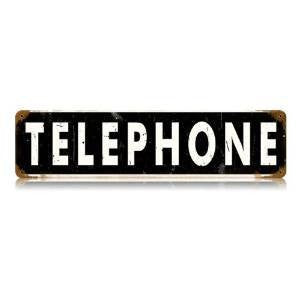 Telephone vintage metal sign measures 20 inches by 5 inches