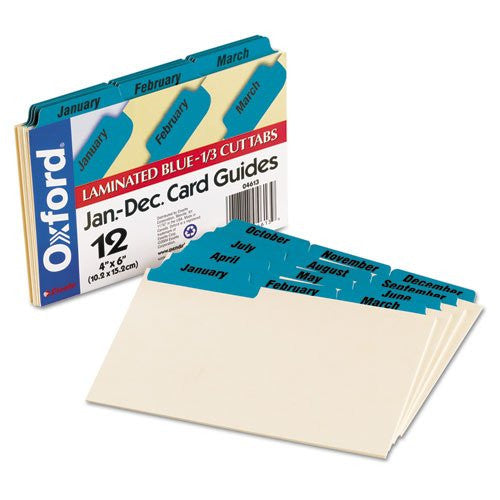 Oxford Manila Card Guides with Laminated Tabs, 4x6, Jan-Dec, Blue