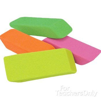 Neon Wedge Erasers, 24/Set