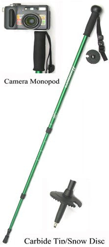 "Twist-lock lightweight aluminum telescopic pole extends from 29'' up to 63"". EVA foam grip with ball knob: Integrated camera mount on top; Carbide tip; Rubber end cap, snow disc, compass, thermometer and adjustable nylon wrist strap. 12oz. Black or Green"