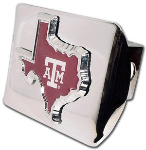 Texas A&M (TX shape with color) Shiny Chrome Hitch Cover