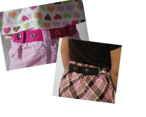 Dapper Snapper Toddler Belt (2 Pack with Clips) Pink and Black