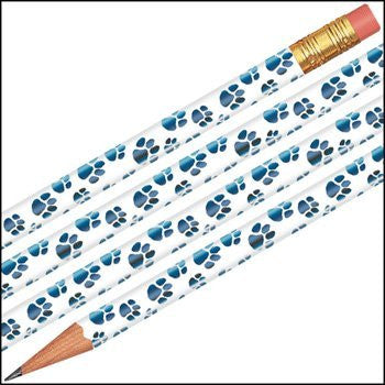 Fancy Foil Blue Paws Pencils