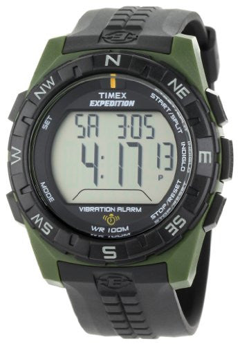 Men's Expedition Rugged Digital Vibration Alarm Green/Black Resin Band Watch