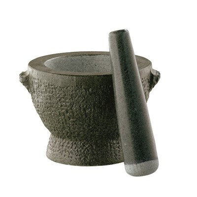 "Mortar & Pestle ""Goliath"", green granite, 5"" H"