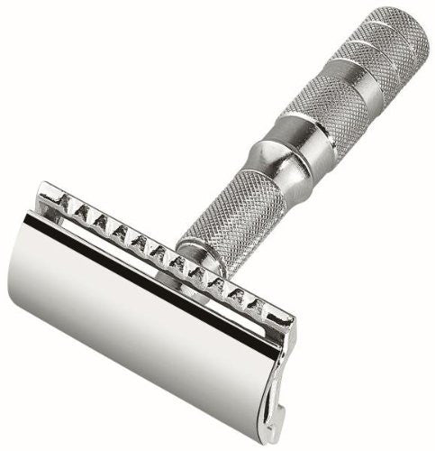 Merkur Travel razors, demountable, chrome-plated, with 1 blade, in leather case, straight cut