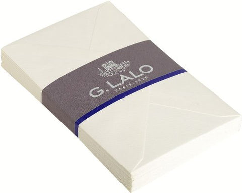 G. Lalo Open Stock Vergé de France Rectangular Envelopes 4 ½ x 6 ¼ Straight edge White 25 envelopes