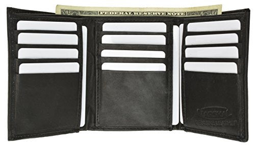 100% Genuine Leather Marshal Tri-fold Mens Walle (Black)