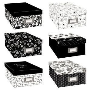 Photo Storage Boxes, Black and White Designs (Assorted)