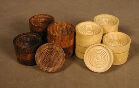 "1.75"" Wood Grooved checkers(24), 45mm"