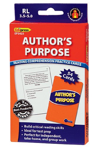 Author's Purpose Reading Comprehension Practice Cards,Blue Level