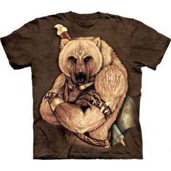 Tribal Bear, Loose Shirt - Brown Adult Large