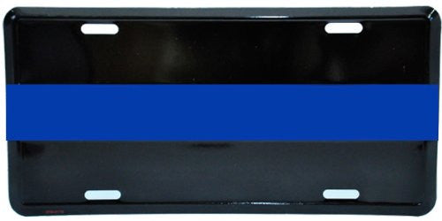 "Thin Blue Line Law Enforcement Automobile Tag - 6""x12"""