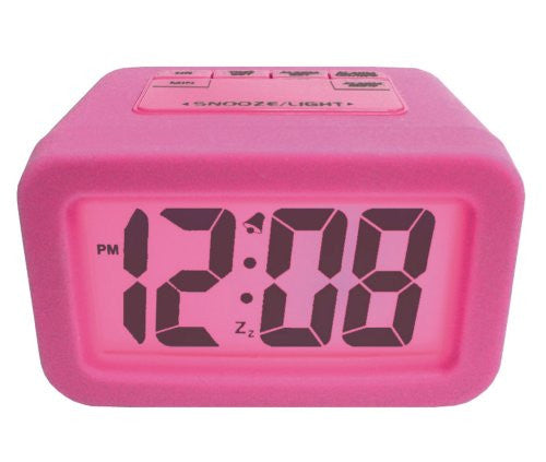 Pink silicone LCD alarm clock