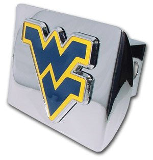 "West Virginia (""WV"" with Navy) Shiny Chrome Hitch Cover"