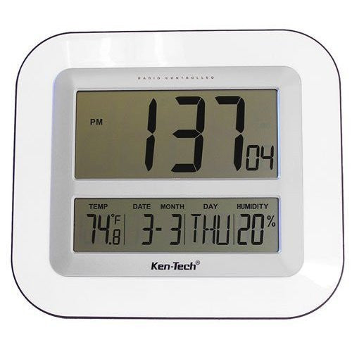 "Atomic LCD Wall or Desk Clock with 2.5"" Numbers, Temperature & Humidity"