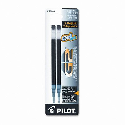 Pilot G2 Gel Ink Retractable Rolling Ball Pen Refills, Fine Point, 0.7 mm, Black Ink, 2/Pk, Pack of 6