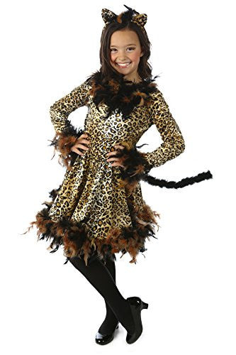 Chandelle Boa Cat Leotard, Skirt w/ Attached Tail & Headband S(6)