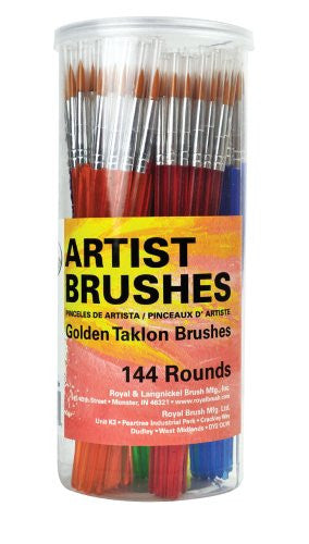 Golden Taklon Round Brush Canister - 144 pcs