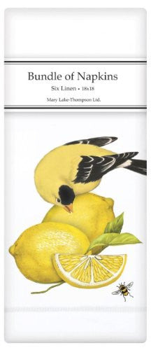 Gold Finch On Lemons Napkin Bundle (6-pc)