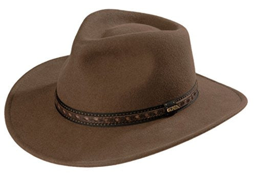 "Scala Classico Outback - Crushable, Water Repellent Wool Felt, Faux Leather, 3"" Brim - Khaki, L"