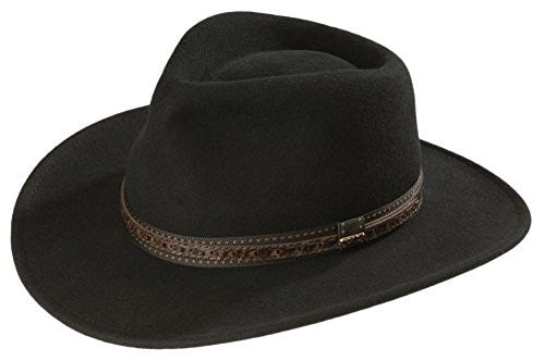 "Scala Classico Outback - Crushable, Water Repellent Wool Felt, Faux Leather, 3"" Brim - Black, L"