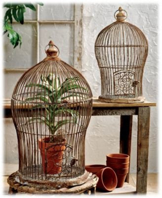Set of Two Antique Nesting Wire Bird Cages
