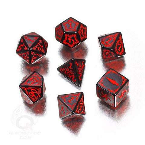 Black & red Tribal Dice (set of 7)