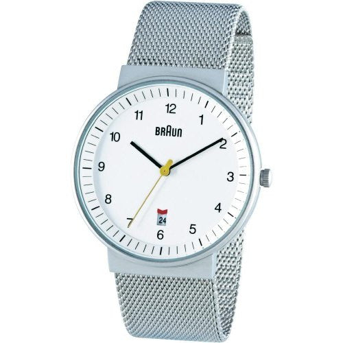 Braun Men's Classic Mesh Analog Display Japanese Quartz Silver Watch