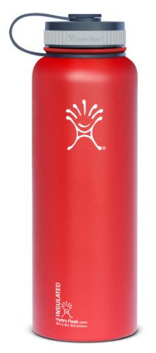 Hydro Flask Insulated Stainless Steel Water Bottle, Wide Mouth, 40-Ounce, Lychee Red