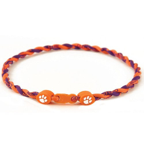 Clemson Tigers Titanium Twist Necklace 18""