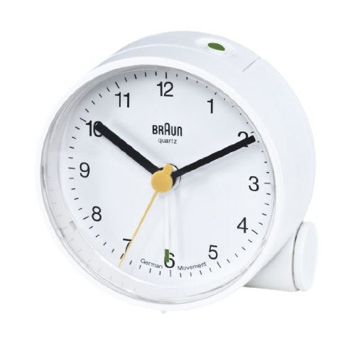 Braun Round Analog Travel Alarm Clock, White