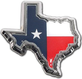 Texas Flag Chrome Emblem (TX Shape with color)