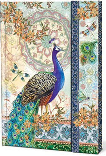 Royal Peacocks Metallic Paper Covered Journals with  Magnetic Flap Closure