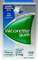 Nicotine Gum 2mg, 105 pcs. - Icy Mint Flavor (Pack of 3)