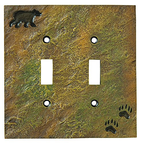 Bear & Tracks Stonecast Double Switch Plate Cover