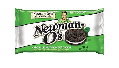 Newman's Own Organics Newman-O`s Creme Filled Sandwich Cookies Mint Creme At least 70% Organic 8 oz