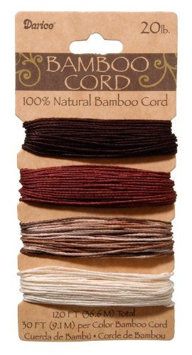 Bamboo Cord Set - 20 lb weight - Assorted Earthy Colors - 1mm - 120 feet